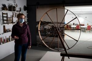 Museum exhibit of mill equipment